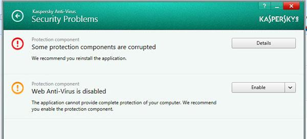Kaspersky Anti-Virus 2014 Protection Components Problem