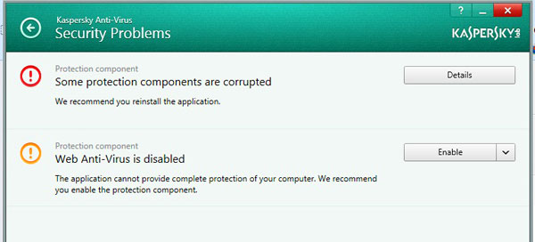 Kaspersky Anti-Virus 2014 Protection Components Problem