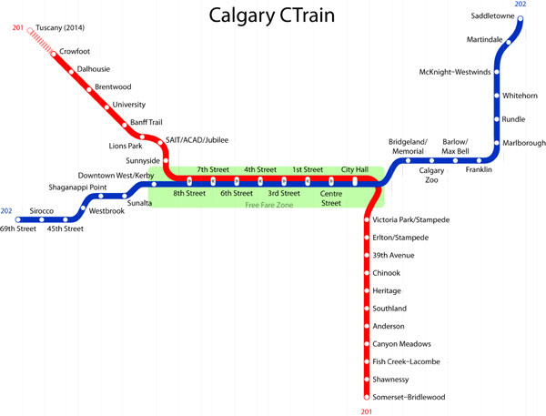 C-Train Stations in Calgary