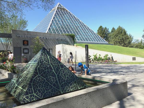 Facade of Muttart Conservatory in Edmonton